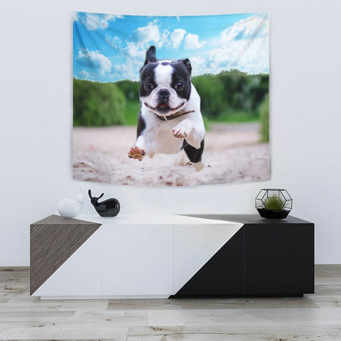 Boston Terrier Running Print Tapestry-Free Shipping