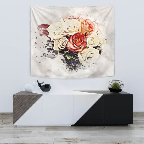 Rose Flower Watercolor Art Print Tapestry-Free Shipping