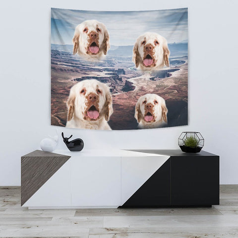 Cute Clumber Spaniel Print Tapestry-Free Shipping