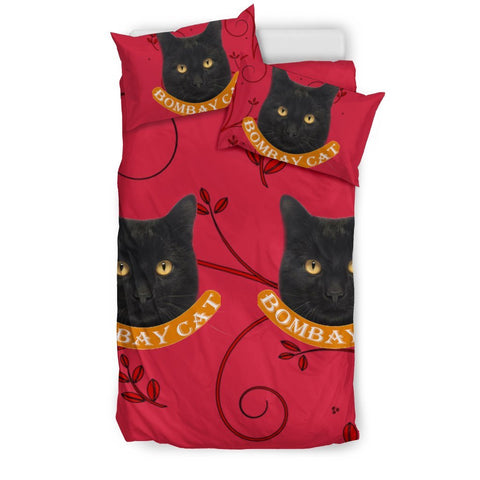 Bombay Cat Print On Red Bedding Set-Free Shipping