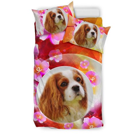 Cute Cavalier King Charles Spaniel Dog Floral Print Bedding Sets-Free Shipping