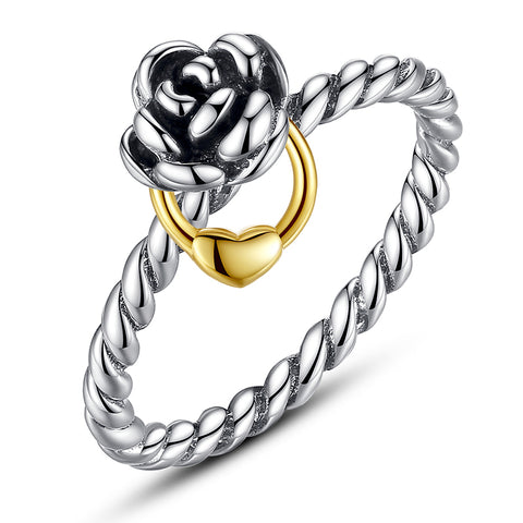 Silver Ring With Gold Necklace