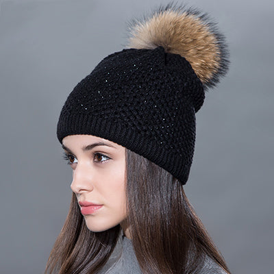 Rhinestone and Pom Pom Beanie