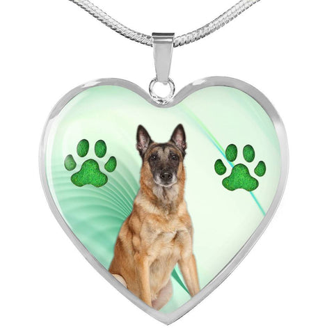 Belgian Malinois Dog Print Heart Pendant Luxury Necklace-Free Shipping