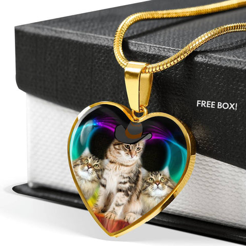 Siberian Cat Print Heart Pendant Luxury Necklace-Free Shipping