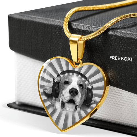 Cute Beagle Print Heart Charm Necklace-Free Shipping