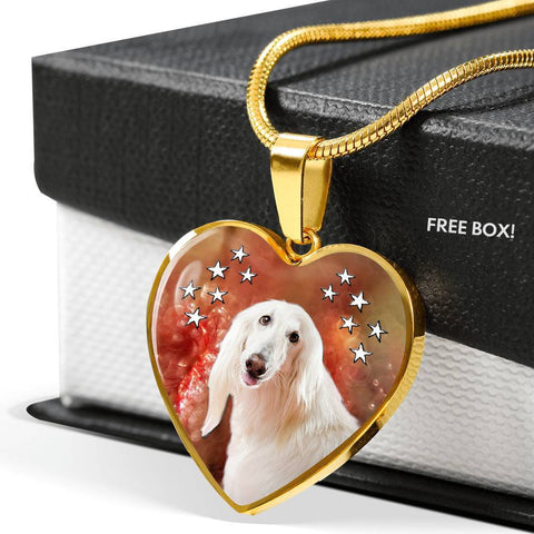 Afghan Hound Print Heart Pendant Luxury Necklace-Free Shipping