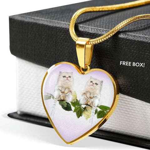 White Persian Cat Print Heart Pendant Luxury Necklace-Free Shipping