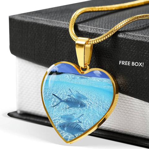 Fish Print Heart Pendant Luxury Necklace-Free Shipping