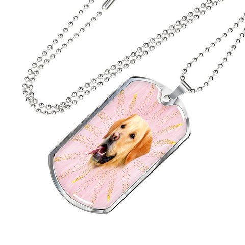 Labrador Retriever Print Dog Tag Pendant With Military Chain -Free Shipping
