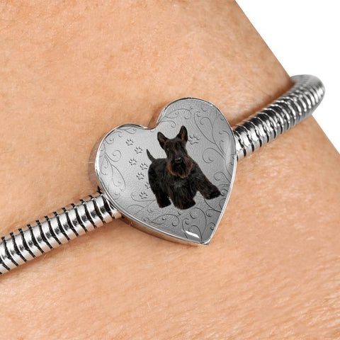Scottish Terrier Print Heart Charm Steel Bracelet-Free Shipping
