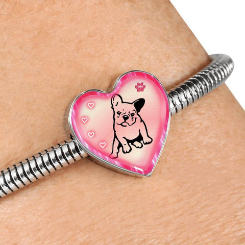 Cute French Bulldog Print Heart Charm Steel Bracelet-Free Shipping
