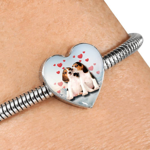 Cute Beagle Dog Print Heart Charm Steel Bracelet-Free Shipping