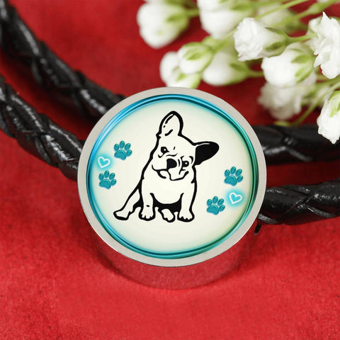 Cute French Bulldog Print Circle Charm Leather Woven Bracelet-Free Shipping