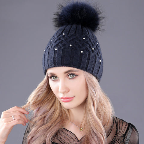 Pearl and Pom Pom Beanie