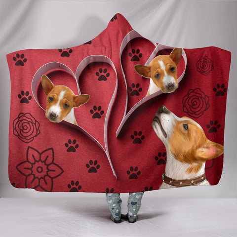 Basenji Dog Paws Print Hooded Blanket-Free Shipping