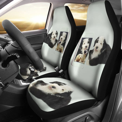 Cute Old English Sheepdog Print Car Seat Covers-Free Shipping