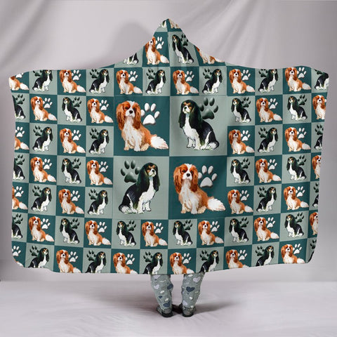 Cavalier King Charles Spaniel Dog Pattern Print Hooded Blanket-Free Shipping