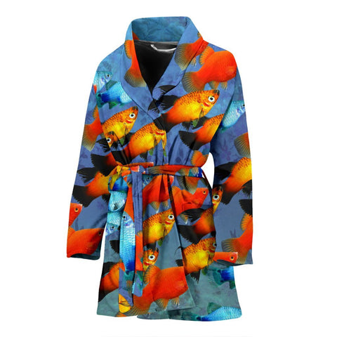 Platy Fish Print Women's Bath Robe-Free Shipping