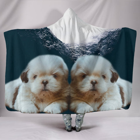 Shih Tzu Print Hooded Blanket-Free Shipping