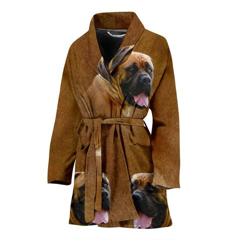 Amazing South African Boerboel Dog Print Women's Bath Robe-Free Shipping