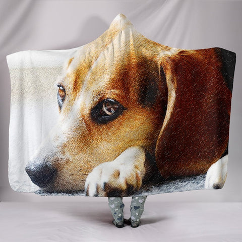 Beagle Dog Art Print Hooded Blanket-Free Shipping