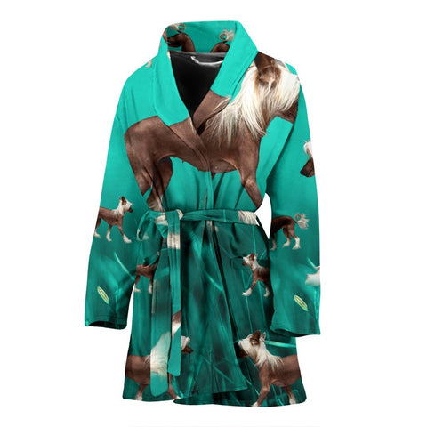 Chinese Creasted Dog Print Women's Bath Robe-Free Shipping