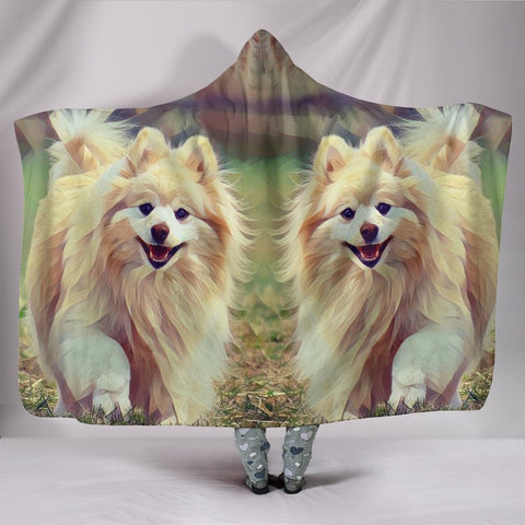Pomeranian Dog Art Print Hooded Blanket-Free Shipping
