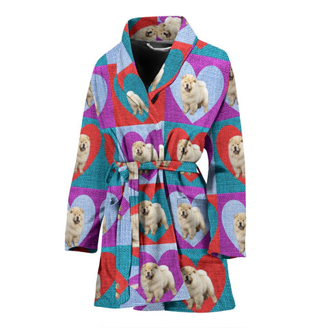 Chow Chow Dog Print Women's Bath Robe-Free Shipping