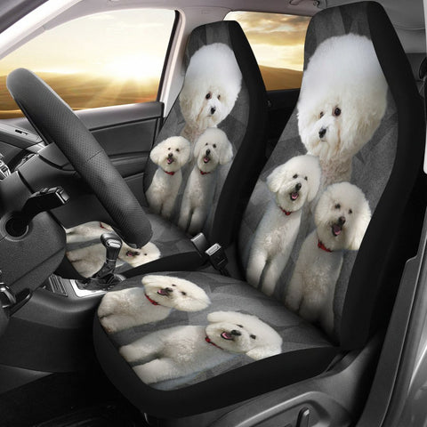 Bichon Frise On Black Print Car Seat Covers-Free Shipping