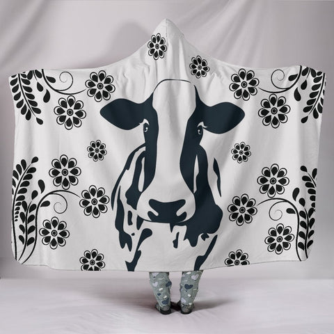 Cow Print with floral Hooded Blanket-Free Shipping