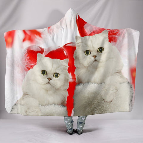 Persian Cat On Red Print Hooded Blanket-Free Shipping