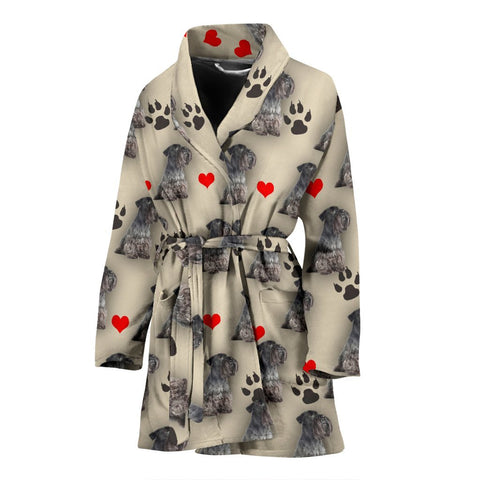 Cesky Terrier Patterns Print Women's Bath Robe-Free Shipping