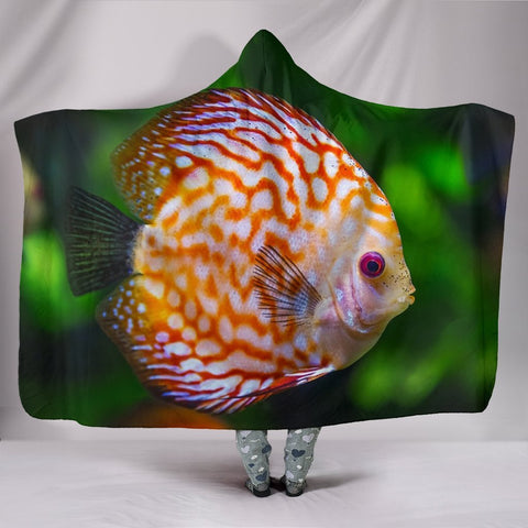 Discus Fish Print Hooded Blanket-Free Shipping