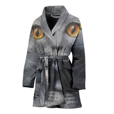 Russian Blue Cat Print Women's Bath Robe-Free Shipping