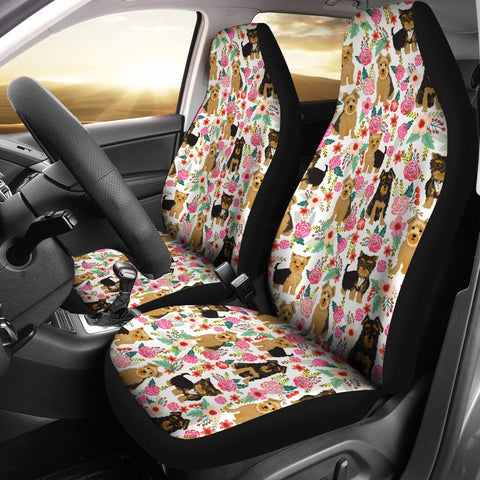 Yorkie Dog Floral Print Car Seat Covers-Free Shipping