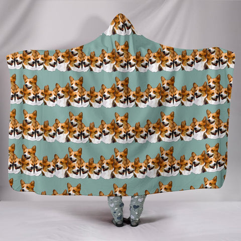 Cardigan Welsh Corgi Dog Pattern Print Hooded Blanket-Free Shipping