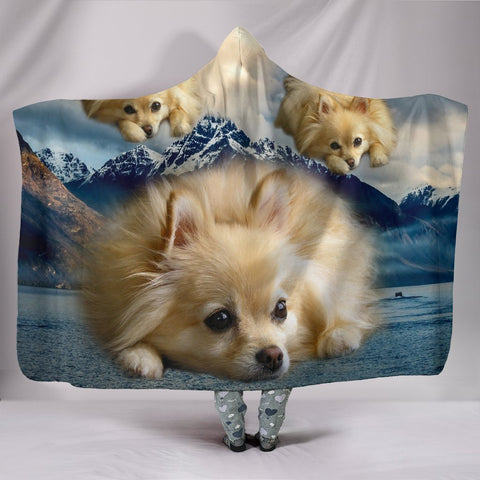 Cute Pomeranian Puppy Print Hooded Blanket-Free Shipping