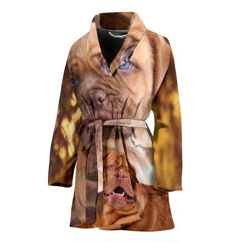 Bordeaux Mastiff Dog Print Women's Bath Robe-Free Shipping