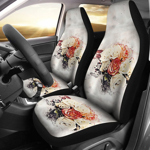 Lovely Rose Watercolor Art Print Car Seat Covers-Free Shipping