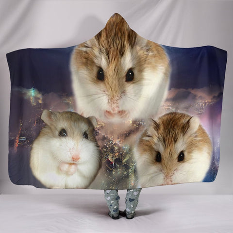 Cute Roborovski Hamster Print Hooded Blanket-Free Shipping