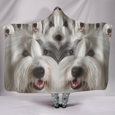 Cute Old English Sheepdog Print Hooded Blanket-Free Shipping