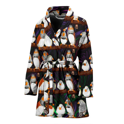 Zebra Finch Bird Pattern Print Women's Bath Robe-Free Shipping