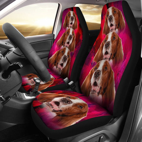 Irish Red and White Setter On Pink Print Car Seat Covers-Free Shipping