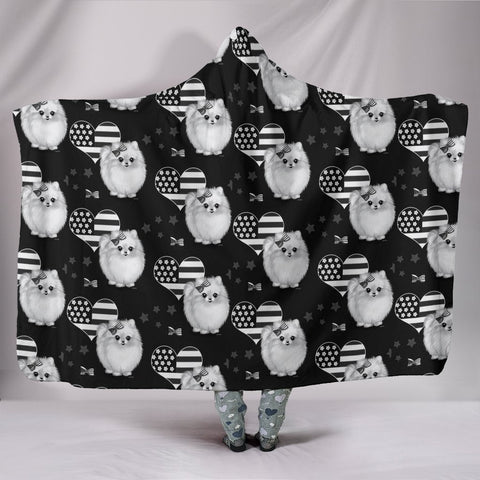Pomeranian Patterns Print Hooded Blanket-Free Shipping