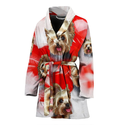 Yorkshire Terrier On Red Print Women's Bath Robe-Free Shipping
