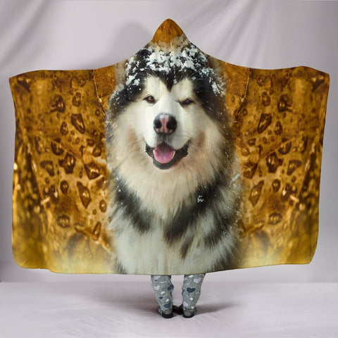 Laughing Alaskan Malamute Print Hooded Blanket-Free Shipping