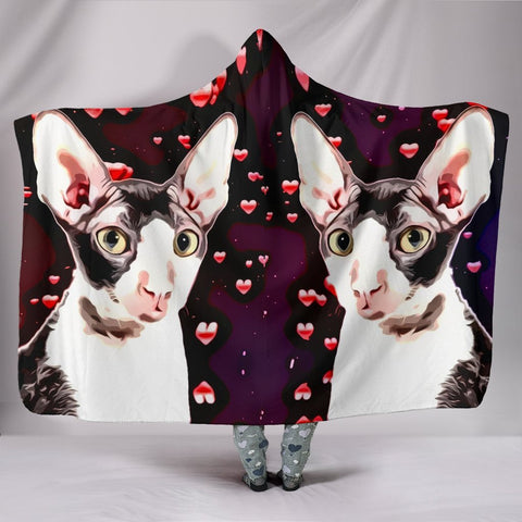 Cornish Rex Cat Love bubbles Print Hooded Blanket-Free Shipping
