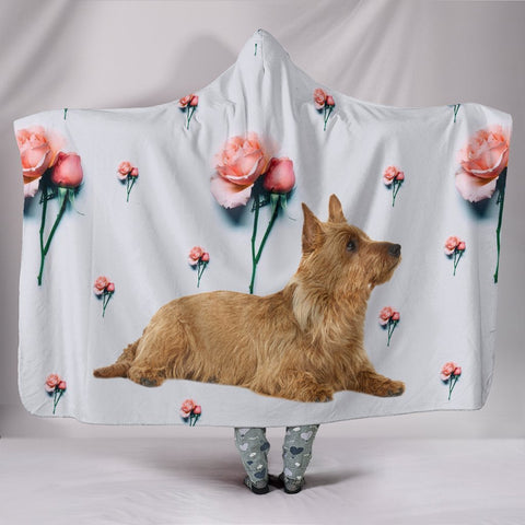 Australian Terrier With Rose Print Hooded Blanket-Free Shipping