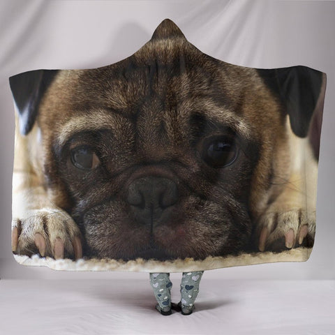 Lovely Pug Dog Print Hooded Blanket-Free Shipping